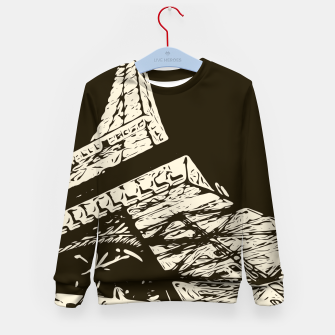 Miniaturka drawing Eiffel Tower, Paris in black and white Kid's sweater, Live Heroes