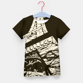 Miniaturka drawing Eiffel Tower, Paris in black and white Kid's t-shirt, Live Heroes