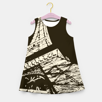 Miniaturka drawing Eiffel Tower, Paris in black and white Girl's summer dress, Live Heroes