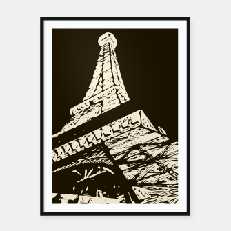 Miniaturka drawing Eiffel Tower, Paris in black and white Framed poster, Live Heroes