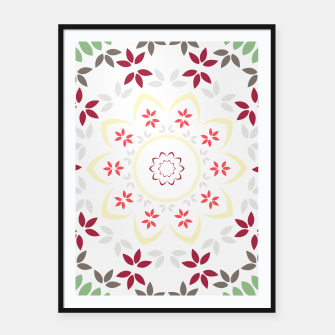Thumbnail image of Leaf and floral radial Mandala Framed poster, Live Heroes