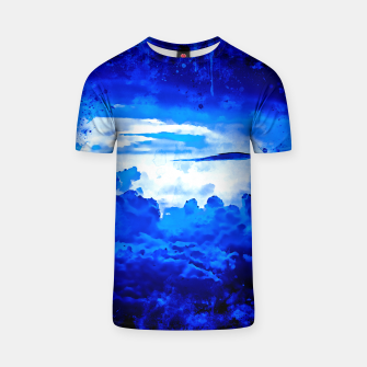 Thumbnail image of gxp cloudy sky blue turquoise splatter watercolor T-shirt, Live Heroes