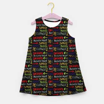 Thumbnail image of Alcoholic Beverages Words Pattern Girl's summer dress, Live Heroes