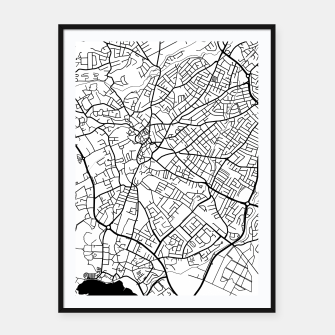 Miniatur Paphos Cyprus map Framed poster, Live Heroes