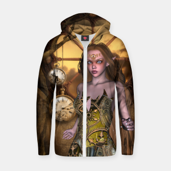 Miniature de image de Wonderful steampunk girl Zip up hoodie, Live Heroes