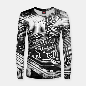 Thumbnail image of gxp platine board conductor tracks splatter watercolor black white Women sweater, Live Heroes
