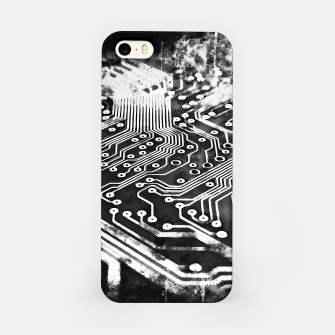 Thumbnail image of gxp platine board conductor tracks splatter watercolor black white iPhone Case, Live Heroes