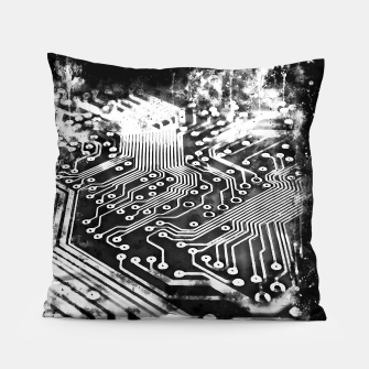 Thumbnail image of gxp platine board conductor tracks splatter watercolor black white Pillow, Live Heroes