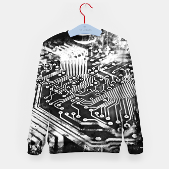 Thumbnail image of gxp platine board conductor tracks splatter watercolor black white Kid's sweater, Live Heroes