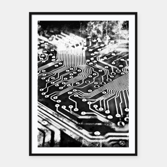 Thumbnail image of gxp platine board conductor tracks splatter watercolor black white Framed poster, Live Heroes
