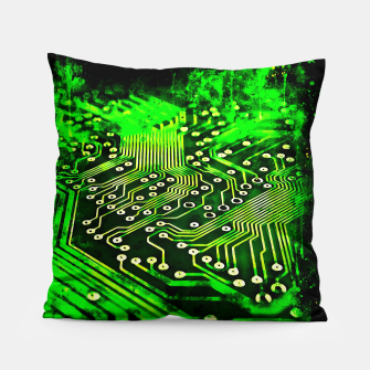 Thumbnail image of gxp platine board conductor tracks splatter watercolor Pillow, Live Heroes