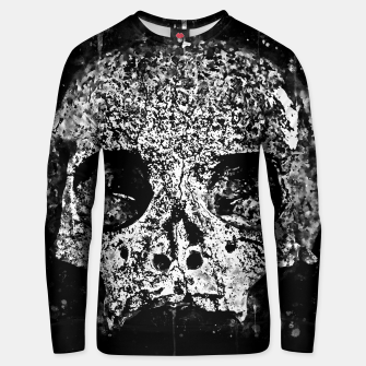 gxp skull on gravestone splatter watercolor black white Unisex sweater thumbnail image