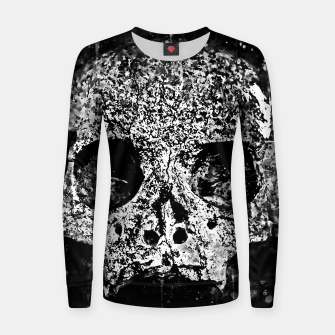 gxp skull on gravestone splatter watercolor black white Women sweater thumbnail image