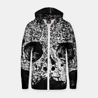 gxp skull on gravestone splatter watercolor black white Zip up hoodie thumbnail image