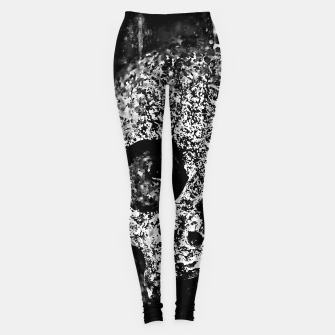 gxp skull on gravestone splatter watercolor black white Leggings thumbnail image