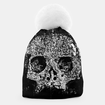 gxp skull on gravestone splatter watercolor black white Beanie thumbnail image