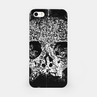 gxp skull on gravestone splatter watercolor black white iPhone Case thumbnail image