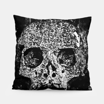 gxp skull on gravestone splatter watercolor black white Pillow thumbnail image