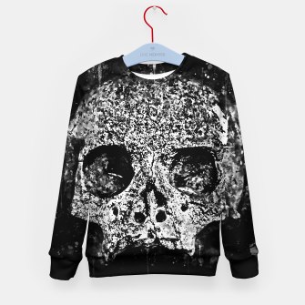 gxp skull on gravestone splatter watercolor black white Kid's sweater thumbnail image