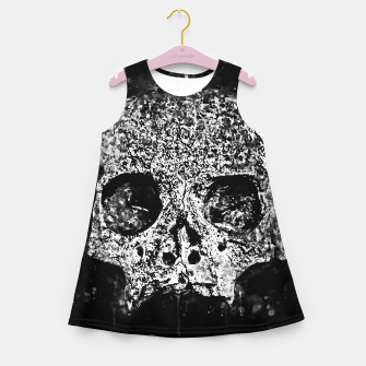 gxp skull on gravestone splatter watercolor black white Girl's summer dress thumbnail image