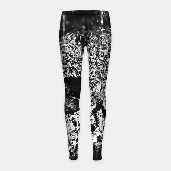 Thumbnail image of gxp skull on gravestone splatter watercolor black white Girl's leggings, Live Heroes