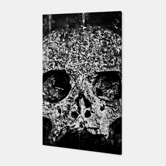 Thumbnail image of gxp skull on gravestone splatter watercolor black white Canvas, Live Heroes