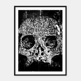 Thumbnail image of gxp skull on gravestone splatter watercolor black white Framed poster, Live Heroes