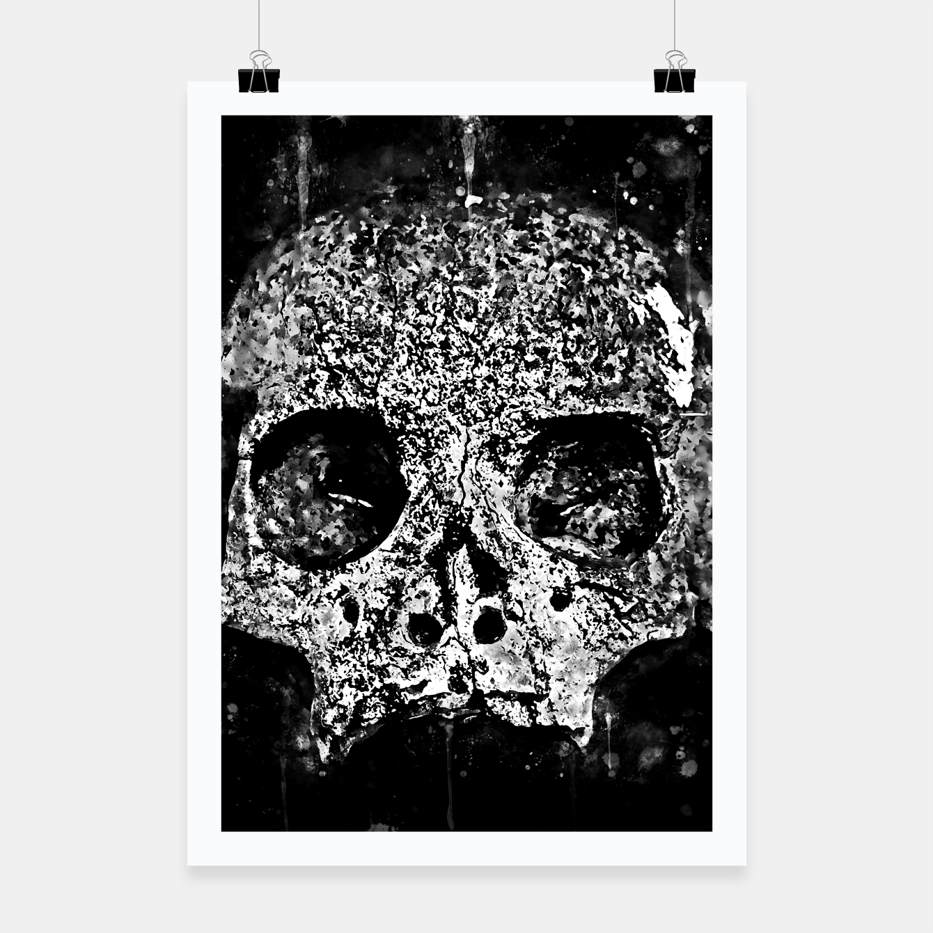 Image of gxp skull on gravestone splatter watercolor black white Poster - Live Heroes