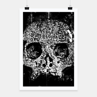 Thumbnail image of gxp skull on gravestone splatter watercolor black white Poster, Live Heroes