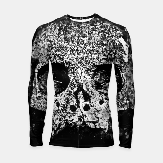 Thumbnail image of gxp skull on gravestone splatter watercolor black white Longsleeve rashguard , Live Heroes