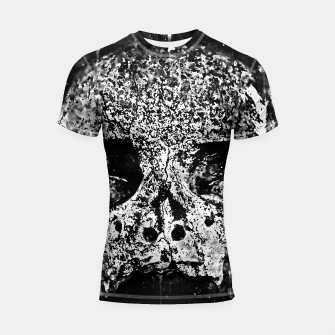 Thumbnail image of gxp skull on gravestone splatter watercolor black white Shortsleeve rashguard, Live Heroes