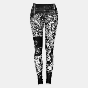 Thumbnail image of gxp skull on gravestone splatter watercolor black white Leggings, Live Heroes