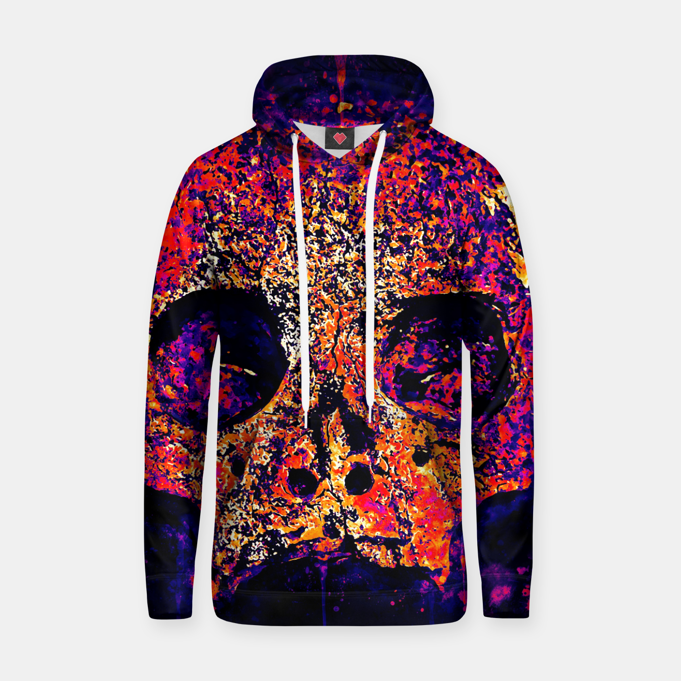 Image of gxp skull on gravestone splatter watercolor purple pink Hoodie - Live Heroes