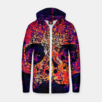 Thumbnail image of gxp skull on gravestone splatter watercolor purple pink Zip up hoodie, Live Heroes