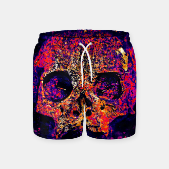 Thumbnail image of gxp skull on gravestone splatter watercolor purple pink Swim Shorts, Live Heroes