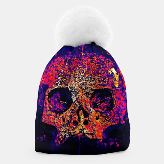 gxp skull on gravestone splatter watercolor purple pink Beanie thumbnail image