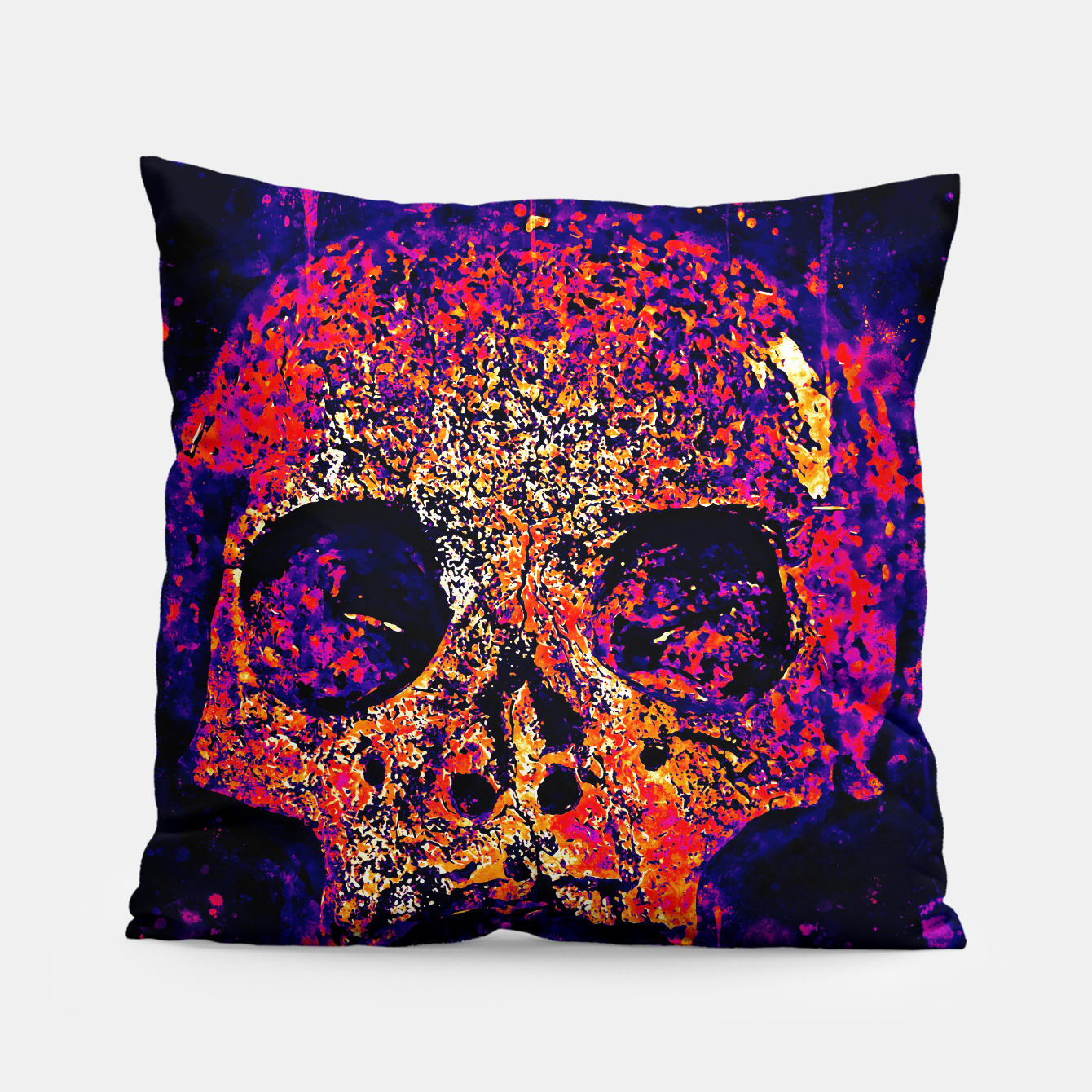 Image of gxp skull on gravestone splatter watercolor purple pink Pillow - Live Heroes