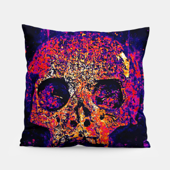 Thumbnail image of gxp skull on gravestone splatter watercolor purple pink Pillow, Live Heroes