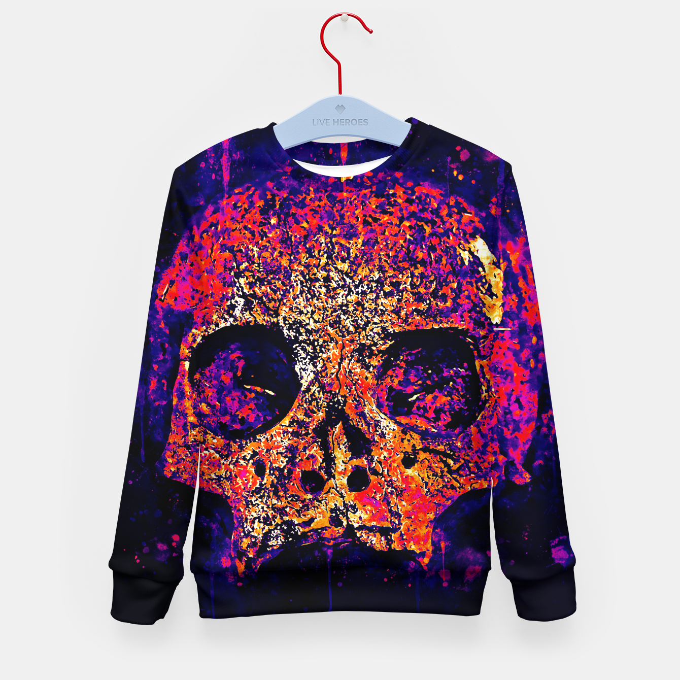Image of gxp skull on gravestone splatter watercolor purple pink Kid's sweater - Live Heroes