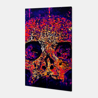 Thumbnail image of gxp skull on gravestone splatter watercolor purple pink Canvas, Live Heroes