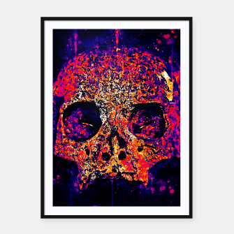 Thumbnail image of gxp skull on gravestone splatter watercolor purple pink Framed poster, Live Heroes