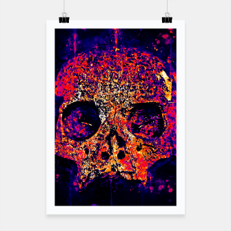 gxp skull on gravestone splatter watercolor purple pink Poster thumbnail image