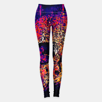 Thumbnail image of gxp skull on gravestone splatter watercolor purple pink Leggings, Live Heroes