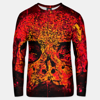 Thumbnail image of gxp skull on gravestone splatter watercolor red edgy ember Unisex sweater, Live Heroes