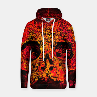 Thumbnail image of gxp skull on gravestone splatter watercolor red edgy ember Hoodie, Live Heroes