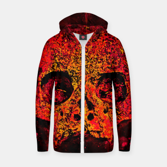 Thumbnail image of gxp skull on gravestone splatter watercolor red edgy ember Zip up hoodie, Live Heroes