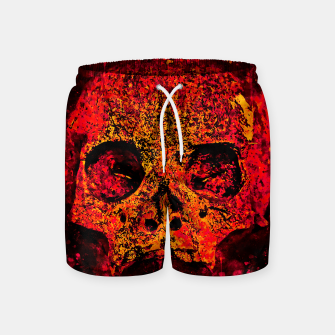 Thumbnail image of gxp skull on gravestone splatter watercolor red edgy ember Swim Shorts, Live Heroes