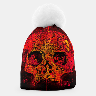 Thumbnail image of gxp skull on gravestone splatter watercolor red edgy ember Beanie, Live Heroes