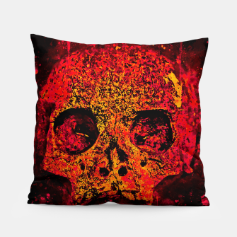 Thumbnail image of gxp skull on gravestone splatter watercolor red edgy ember Pillow, Live Heroes