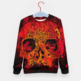 Thumbnail image of gxp skull on gravestone splatter watercolor red edgy ember Kid's sweater, Live Heroes